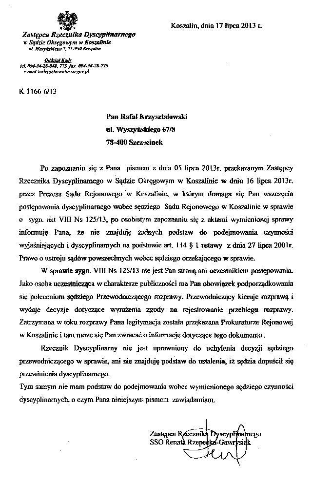 Chłodny Zawiadomienie Prokuratora Generalnego Andrzeja Seremeta o XO97